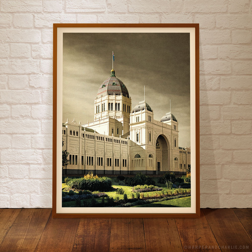 Royal Exhibition Building Grey Sky Framed Colour Print