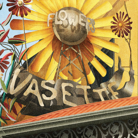 Vasette external shop sign colour print close up