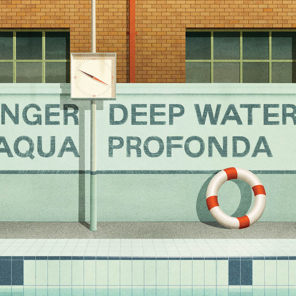 Aqua Profonda Sign Fitzroy Swimming Pool closeup view by Harper and Charlie