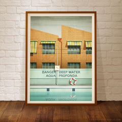 Aqua Profonda Sign Fitzroy Swimming Pool colour poster by Harper and Charlie