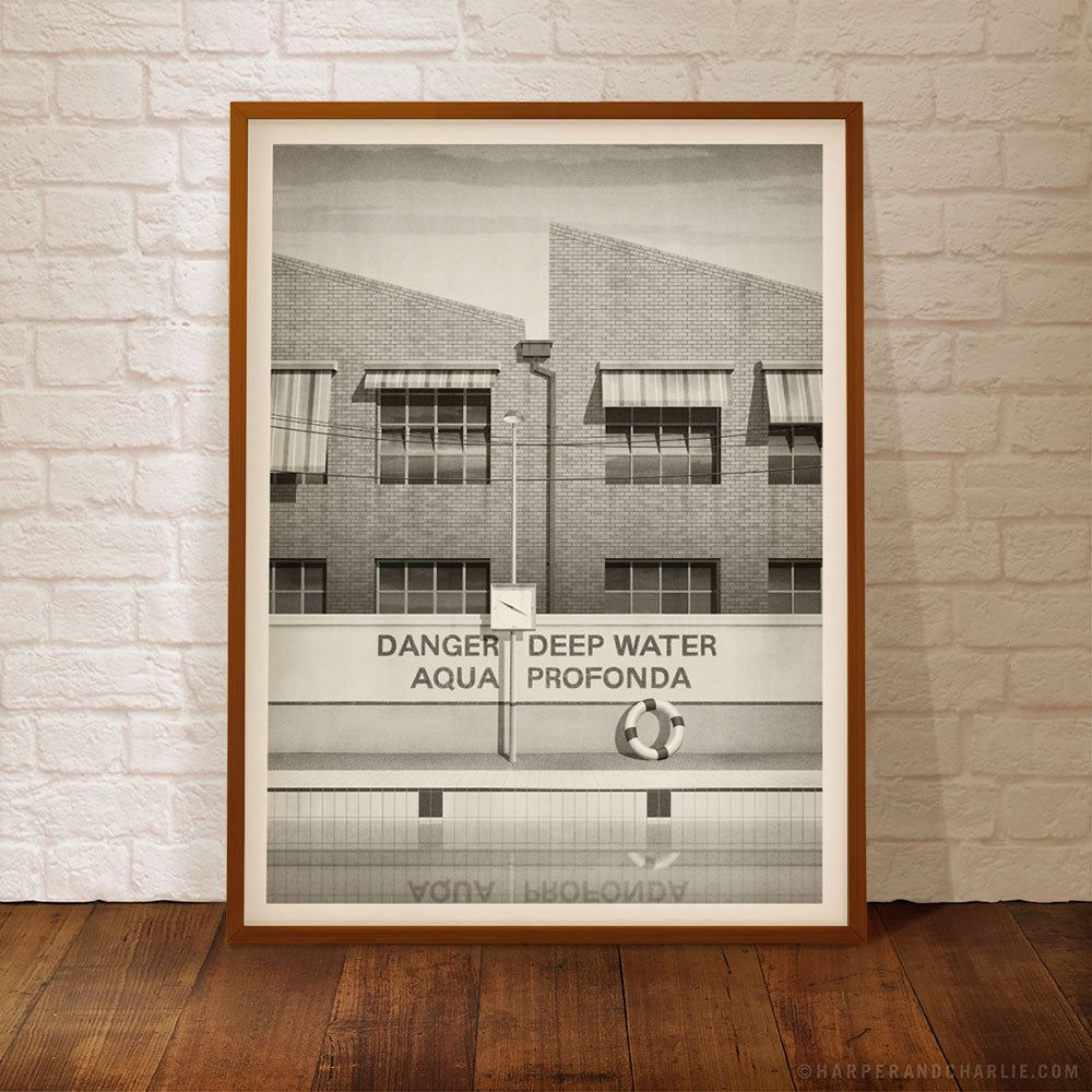 aqua profonda sign fitzroy swimming pool monochrome poster by Harper and Charlie