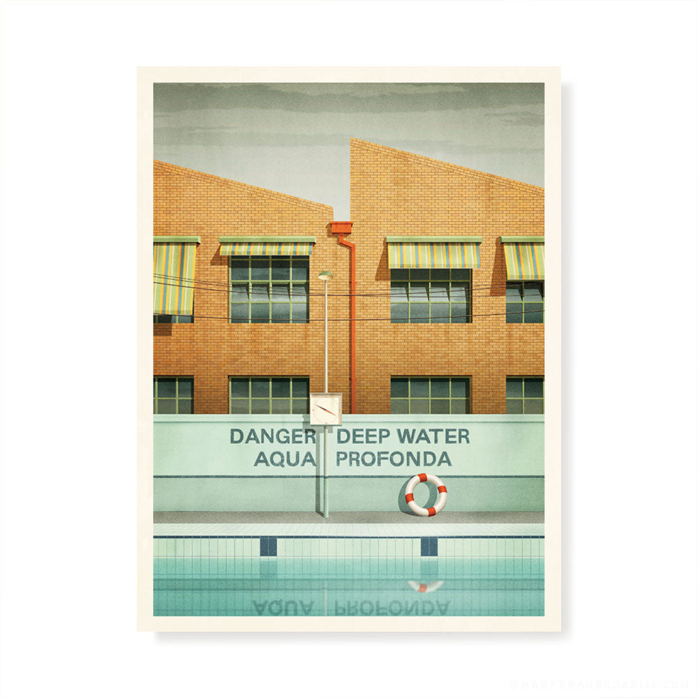 Aqua Profonda sign,Fitzroy Swimming Pool colour print by Harper and Charlie