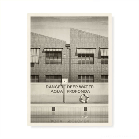 aqua profonda sign fitzroy swimming pool print monochrome by Harper and Charlie