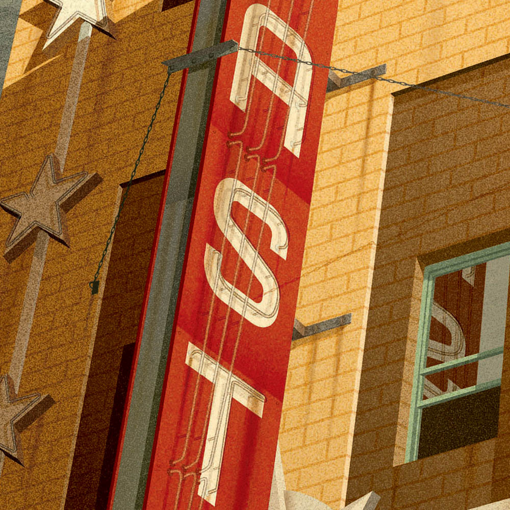 Astor Theatre, St Kilda colour print closeup view by Harper and Charlie