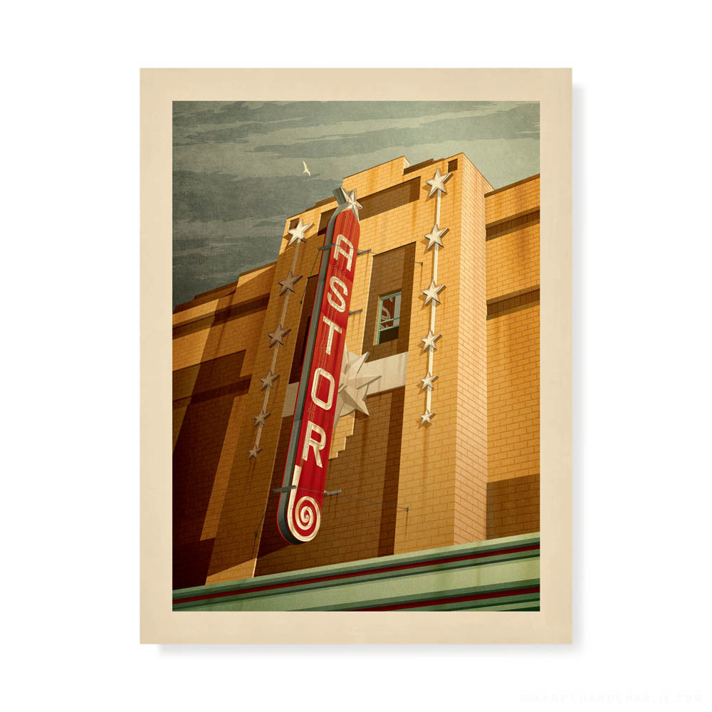 Astor Theatre, St Kilda colour print by Harper and Charlie