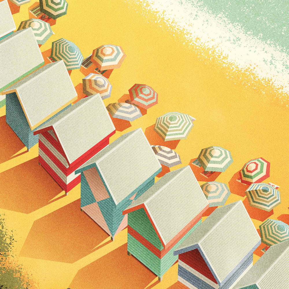 Bathing Boxes, Mornington Peninsula Print