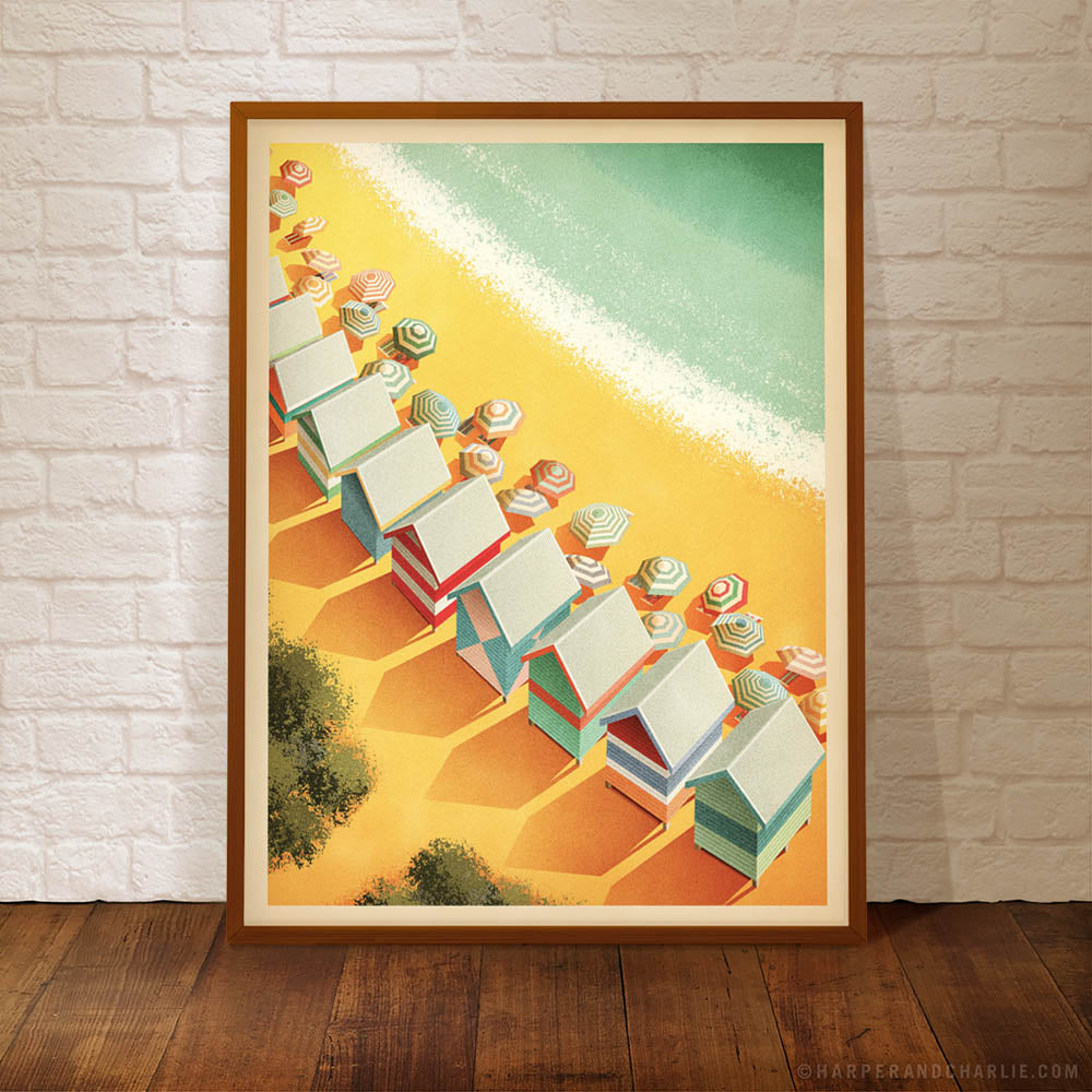 Melbourne beach boxes colour poster framed without text by Harper and Charlie