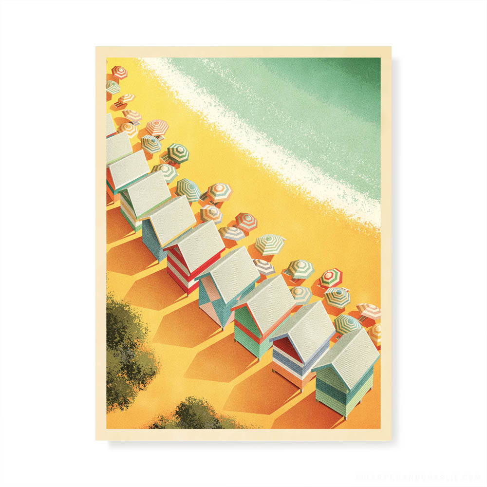 Melbourne Beach Boxes colour print without text by Harper and Charlie