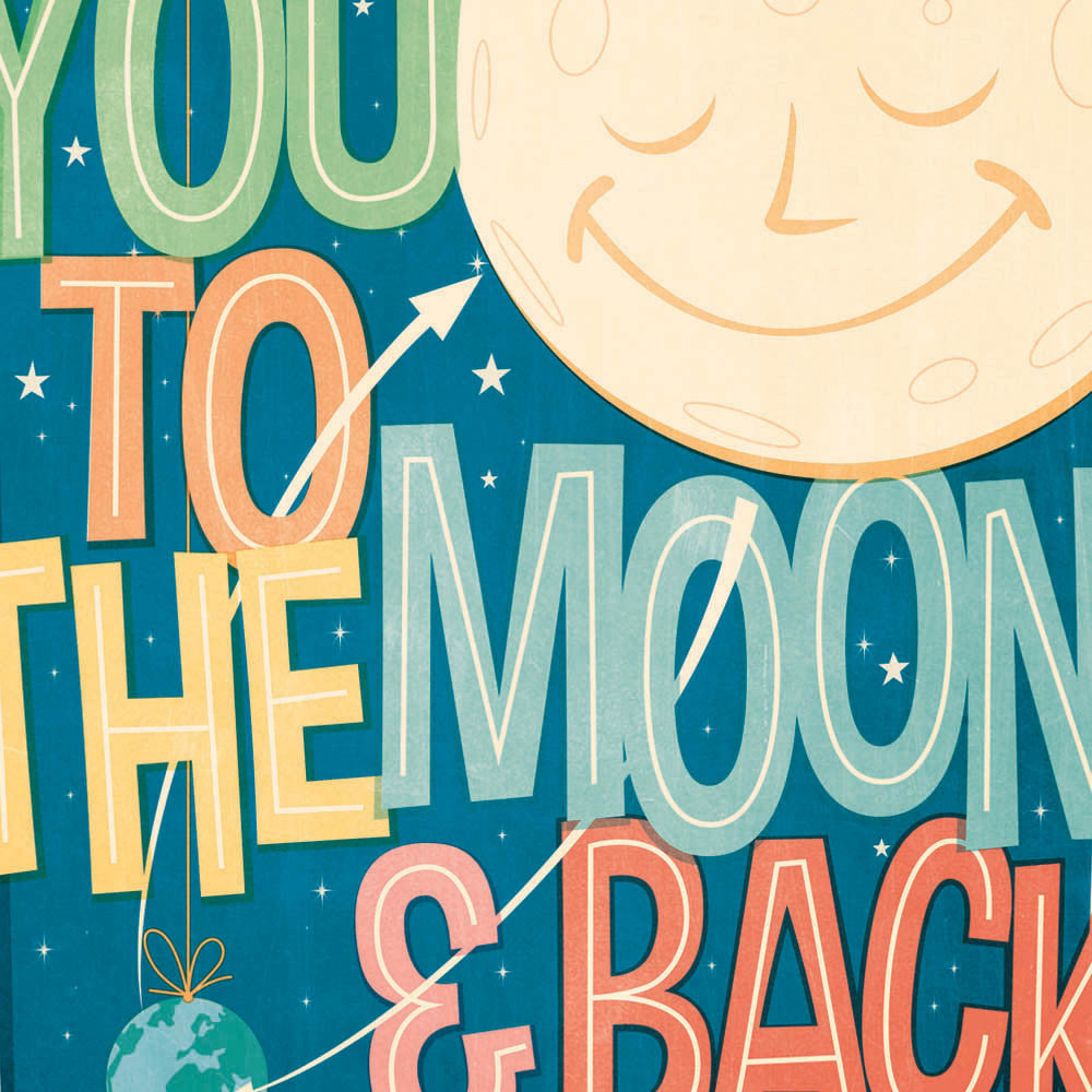 I Love You To The Moon & Back Kids' Colour Print