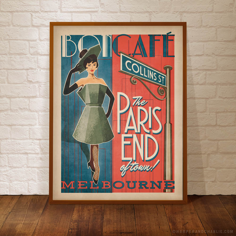 The Paris End of Town Melbourne colour print by Harper and Charlie