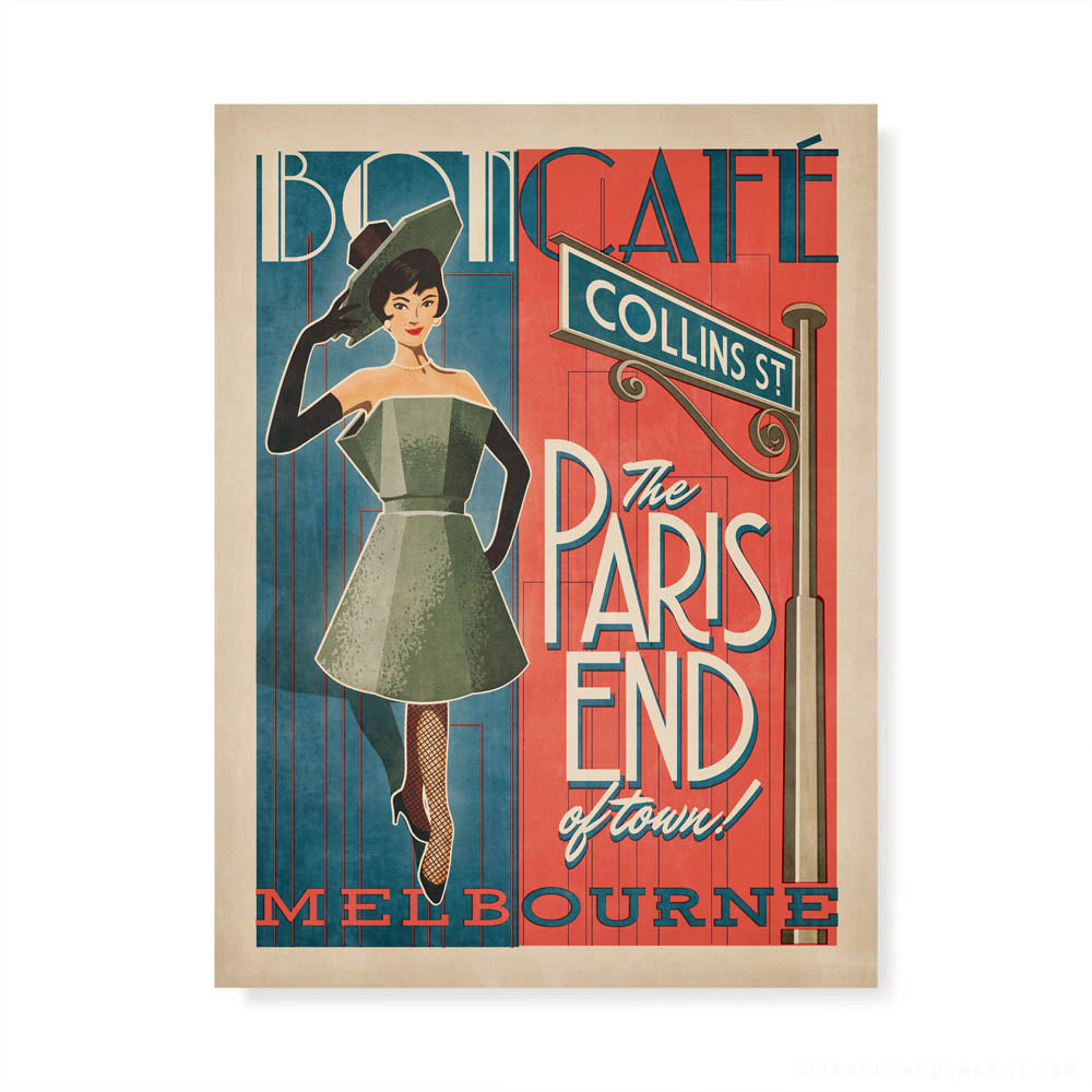 Bon Cafe Melbourne colour print by Harper and Charlie