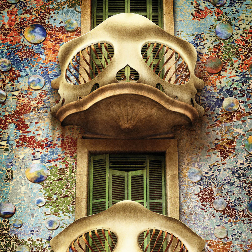 Casa Batlló Barcelona colour print close up