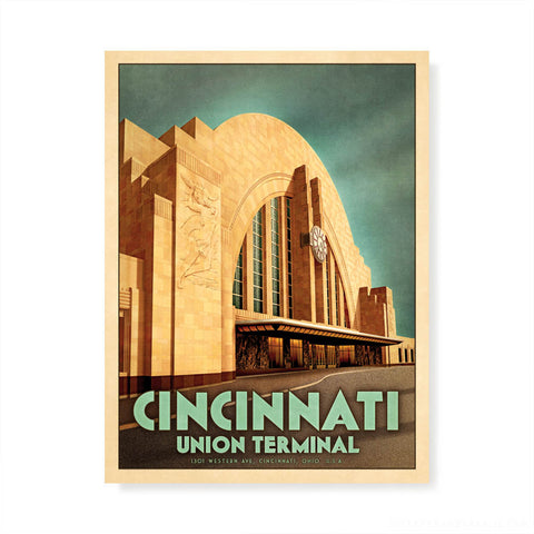 Cincinnati Union Terminal Ohio Portrait Colour Print by Harper and Charlie