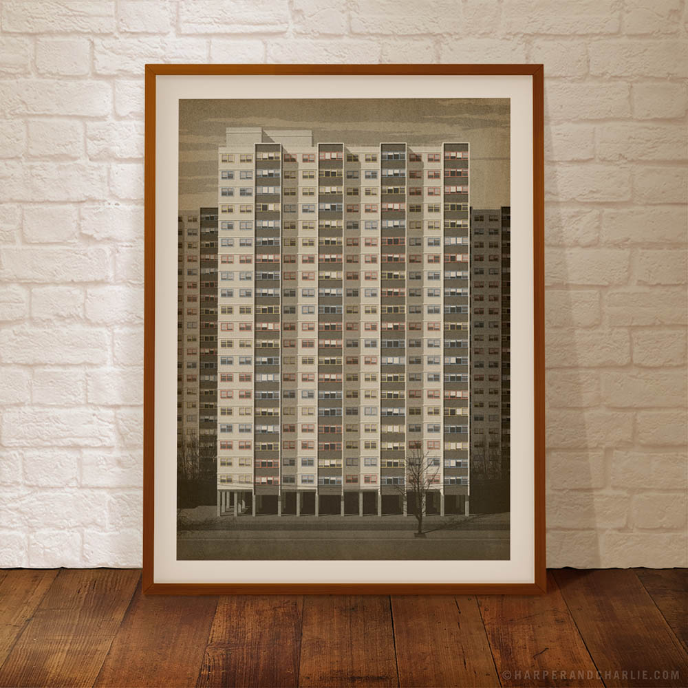 Commission Flats Collingwood framed colour print by Harper and Charlie