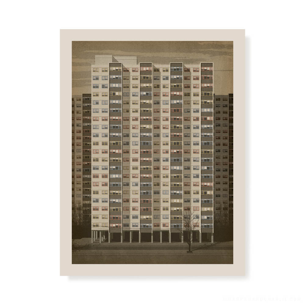 Commission Flats, Collingwood colour print by Harper and Charlie