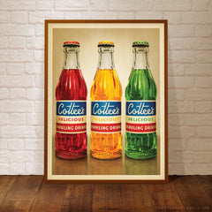 Cottee's Sparkling Drink three colour print framed by Harper and Charlie