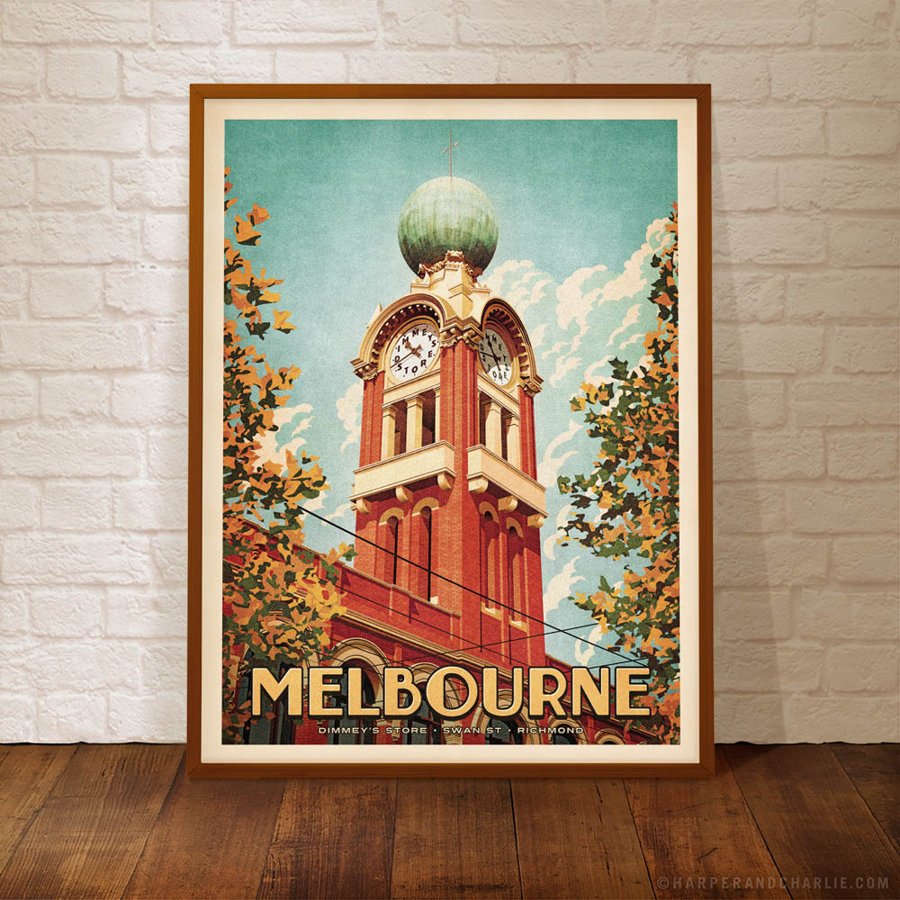 Dimmeys Store Melbourne Colour Poster framed by Harper and Charlie