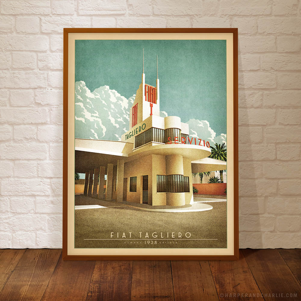 Fiat Tagliero Building Colour Print Framed