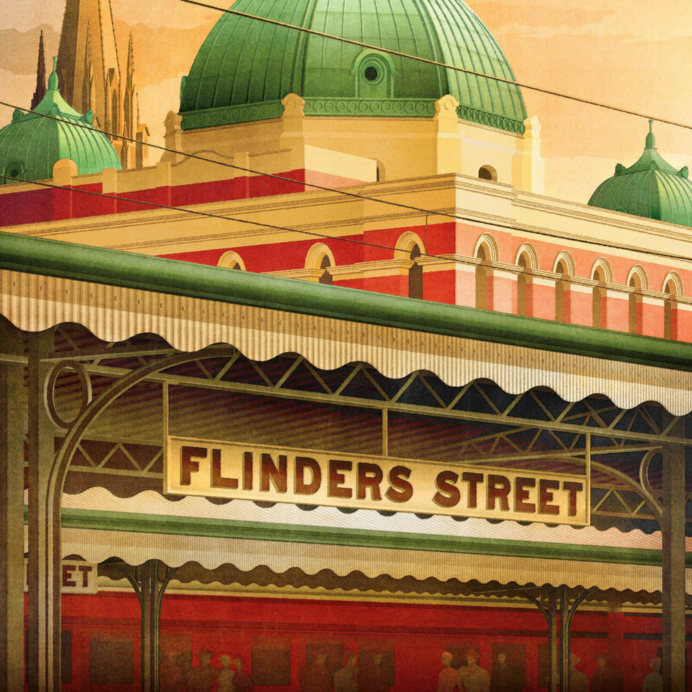 Flinders Street Station, Melbourne early morning colour print closeup view by Harper and Charlie