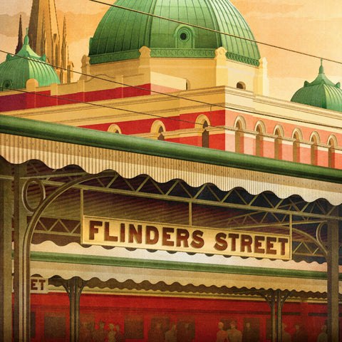 Flinders Street Station, Melbourne early morning colour print closeup view