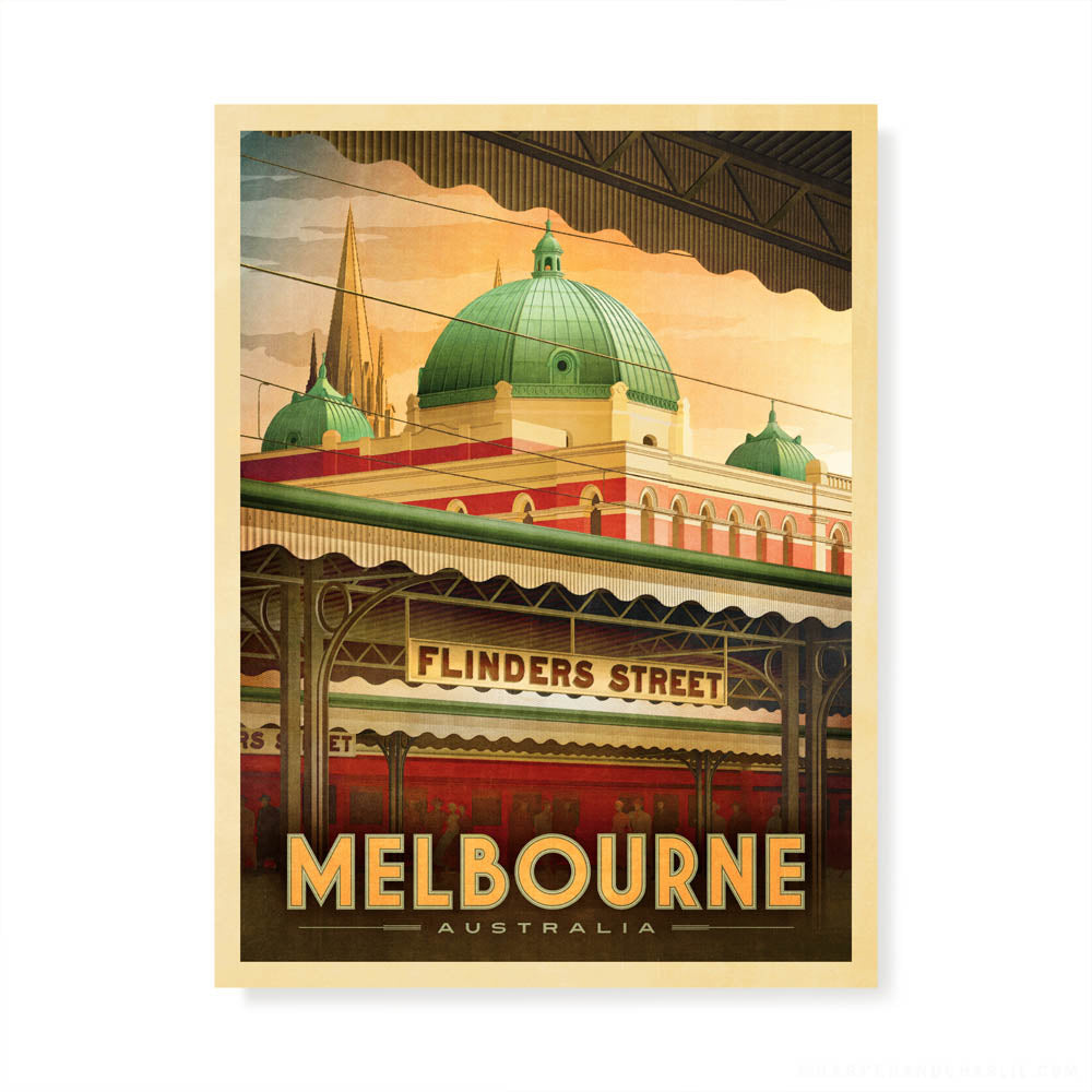 Flinders Street Station, Melbourne early morning colour print by Harper and Charlie