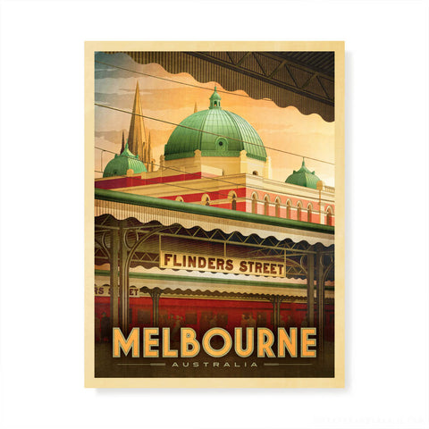 Flinders Street Station, Melbourne early morning colour print