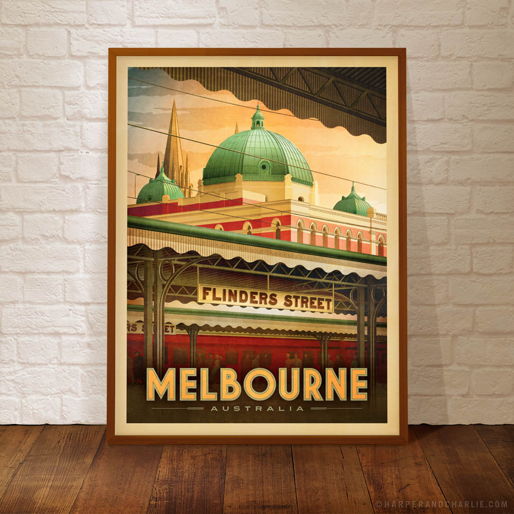 Flinders Street Station, Melbourne early morning print closeup view