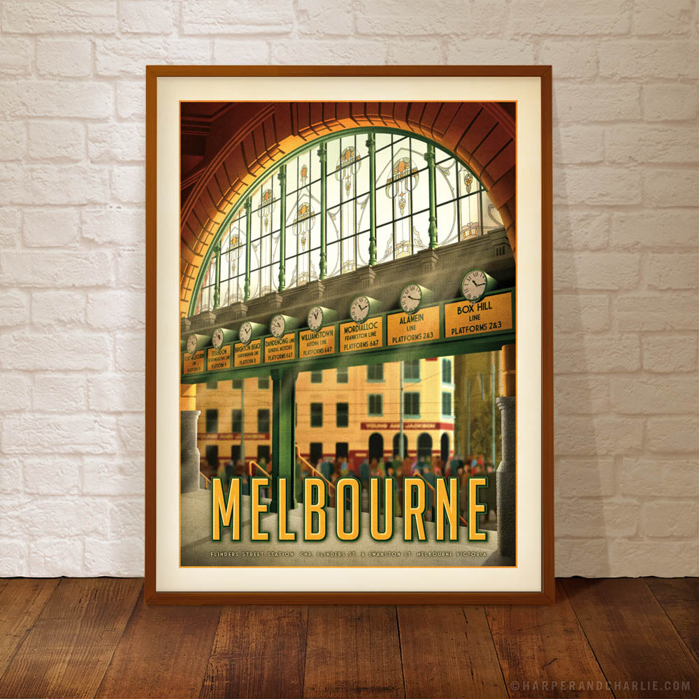 Flinders Street Station, Melbourne A Day in Town framed colour print by Harper and Charlie