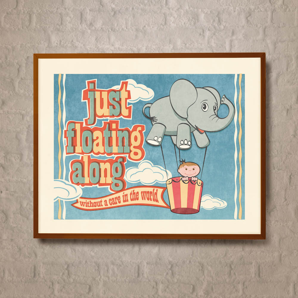'Just Floating Along' Elephant Kids' Colour Print