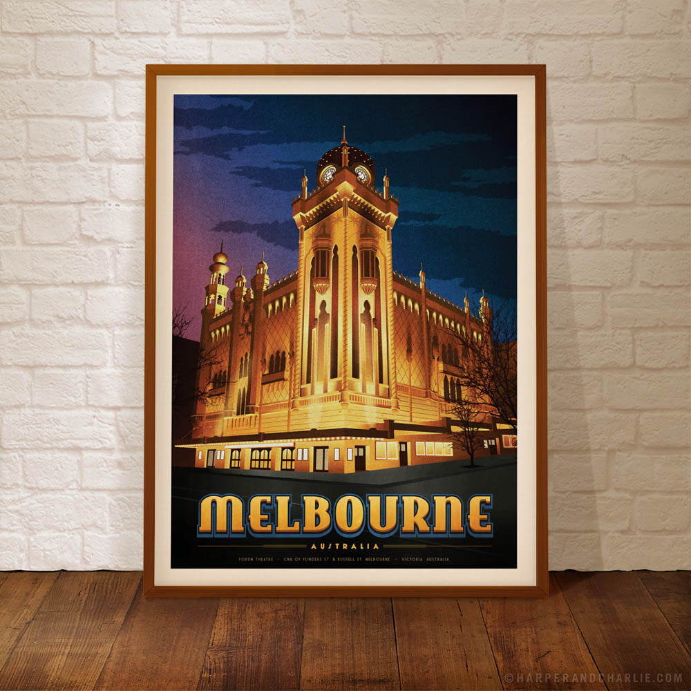 The Forum Theatre Melbourne framed colour print by Harper & Charlie