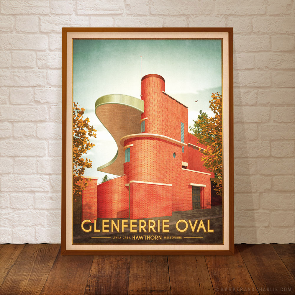 Glenferrie Oval Hawthorn Colour Print Framed