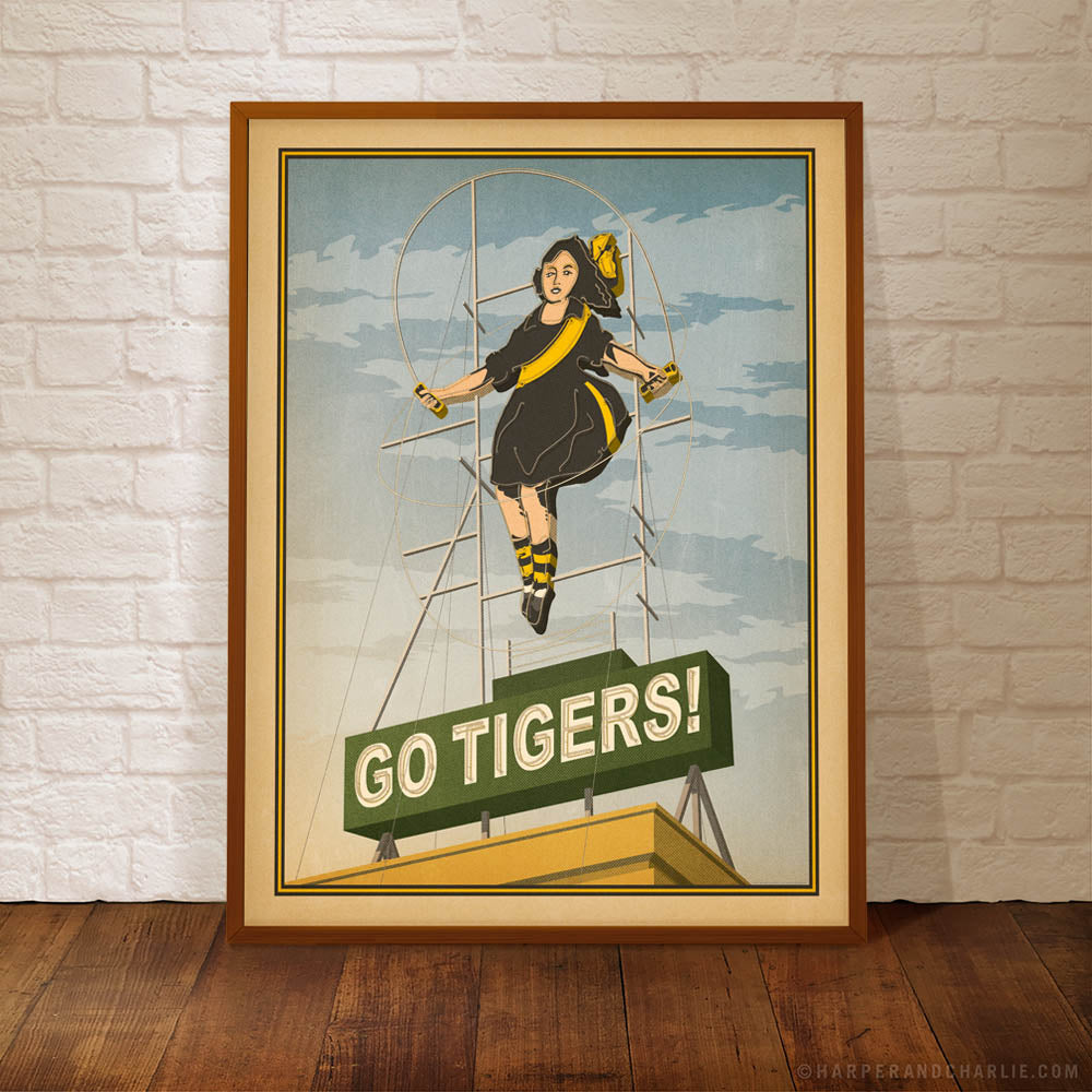 Go Tigers! Richmond Skipping Girl framed colour print by Harper and Charlie