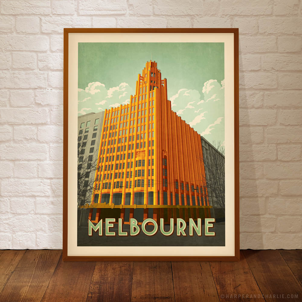 Manchester Unity Building colour poster by Harper and Charlie