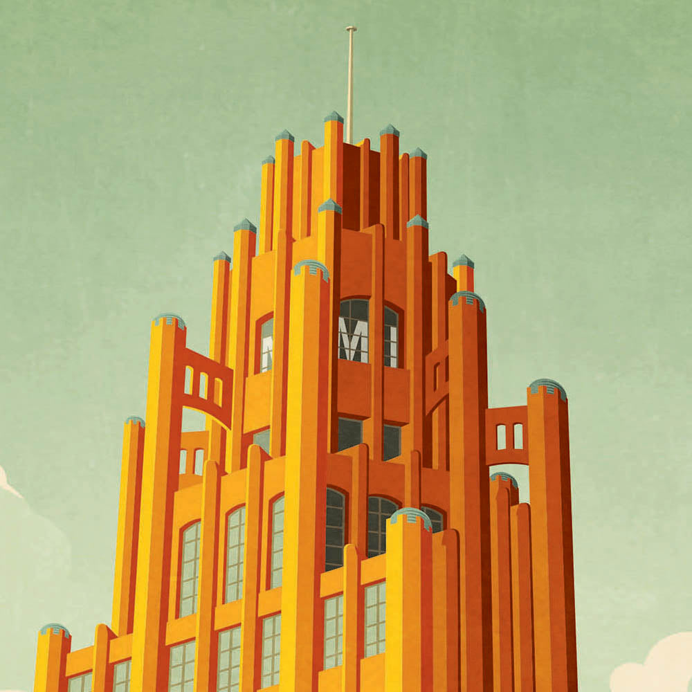 Manchester Unity Building Melbourne colour print close up view by Harper and Charlie