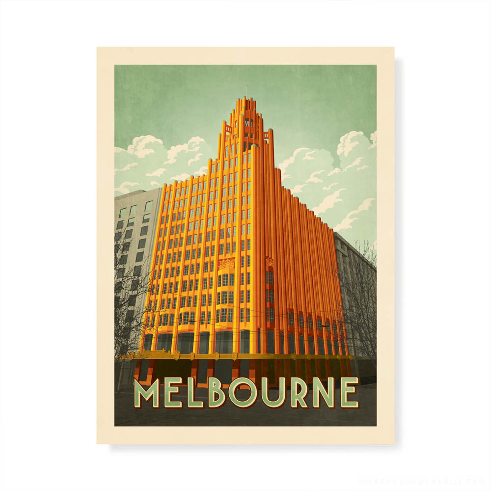 Manchester Unity Building Melbourne colour print by Harper and Charlie