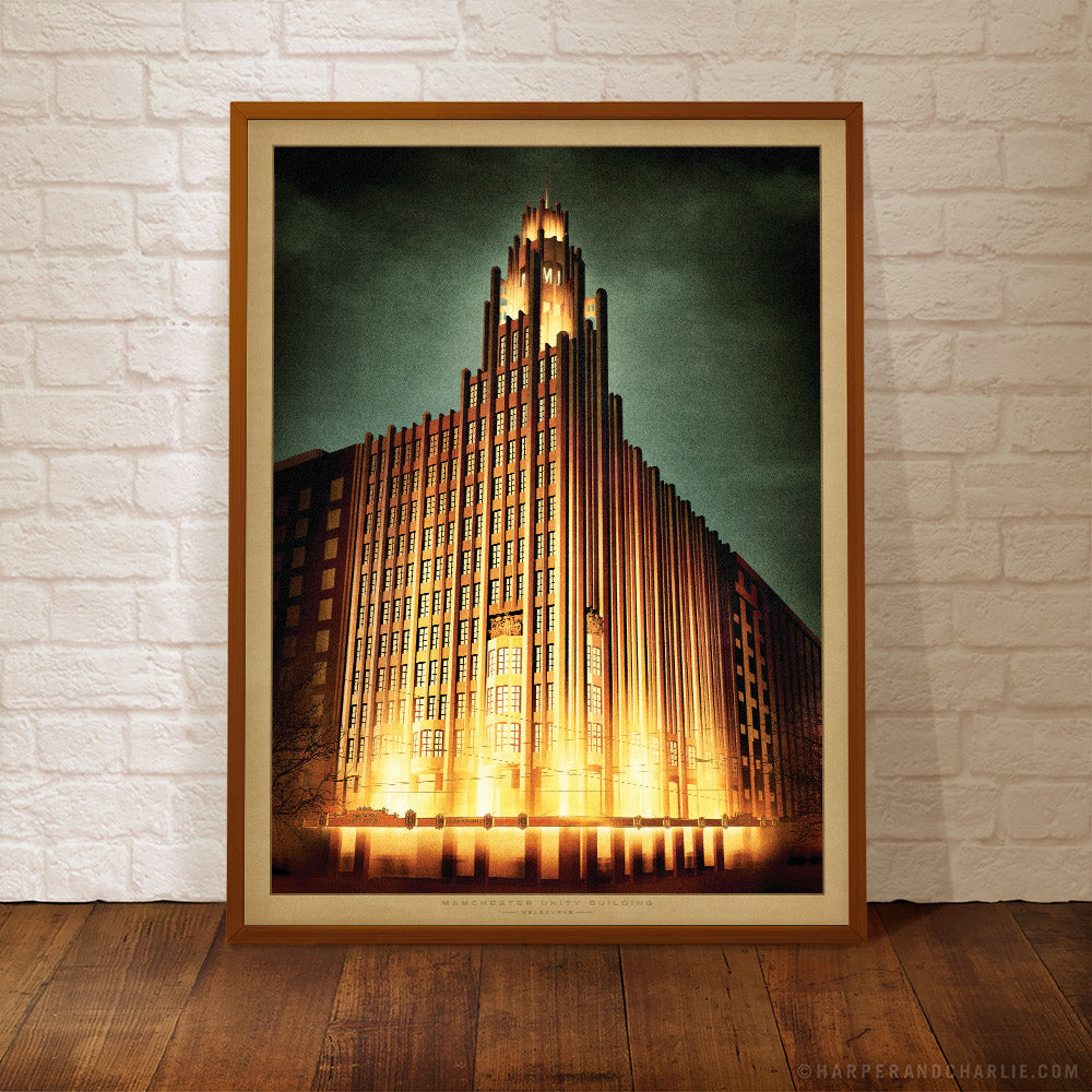 Manchester Unity Building at night framed print by Harper and Charlie