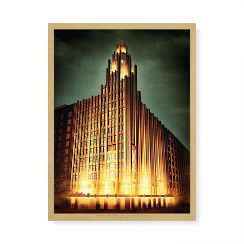 Manchester Unity Building at night colour print by Harper and Charlie