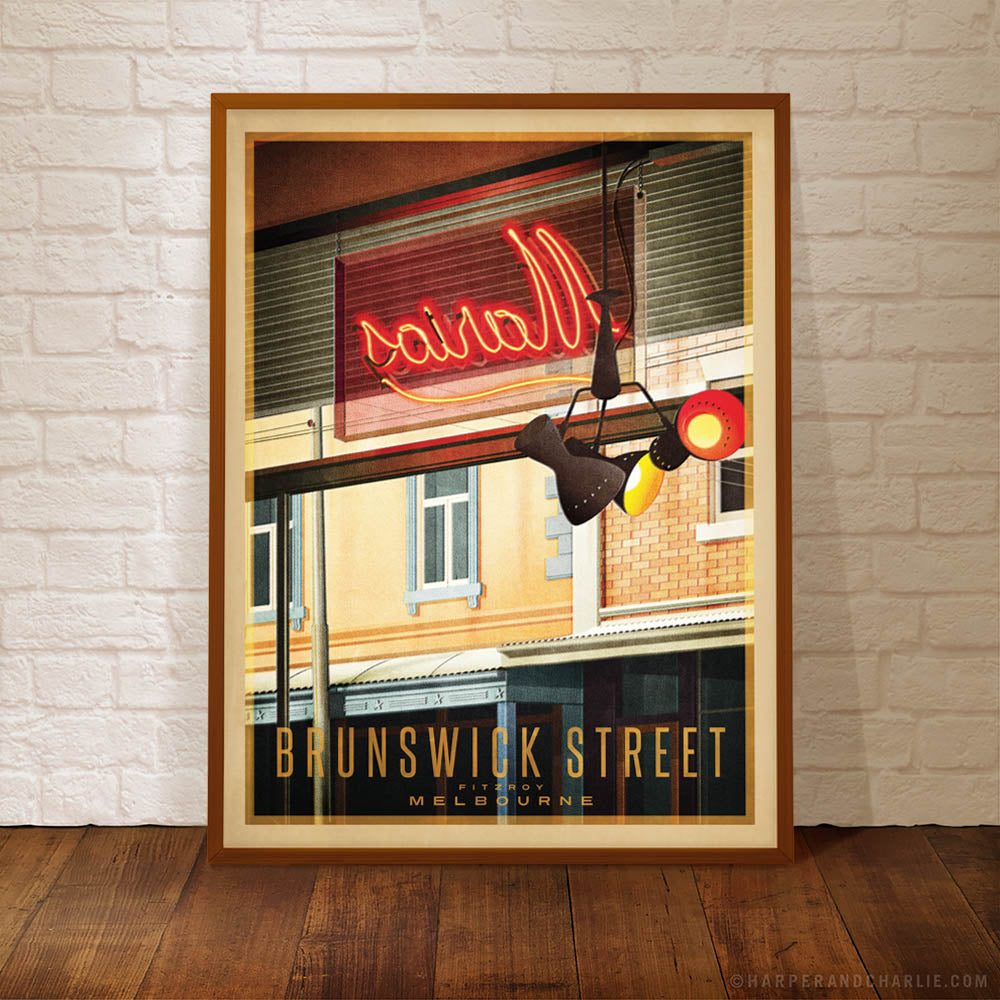 Brunswick Street, Fitzroy, colour print framed by Harper and Charlie