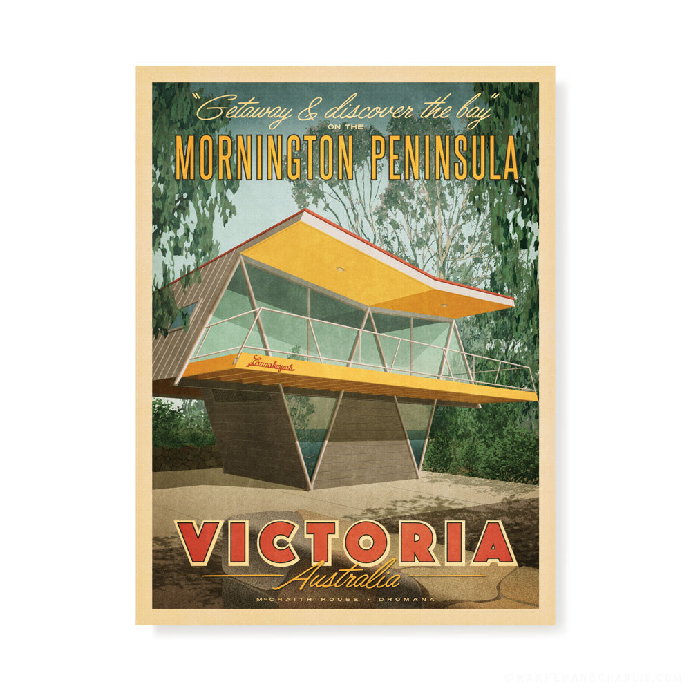 McCraith House, Dromana, Mornington Peninsula colour print by Harper and Charlie