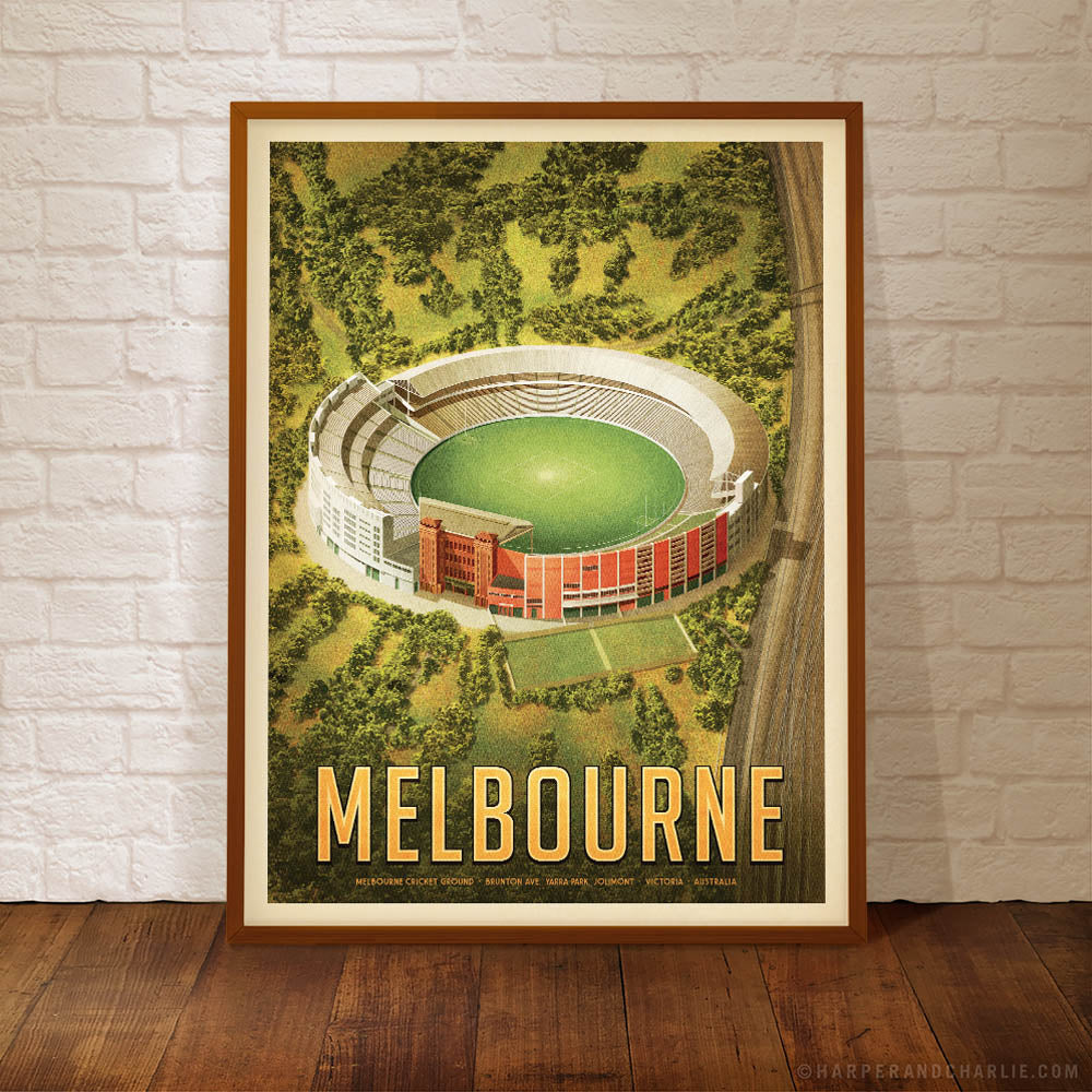 MCG Melbourne portrait colour print framed by Harper and Charlie