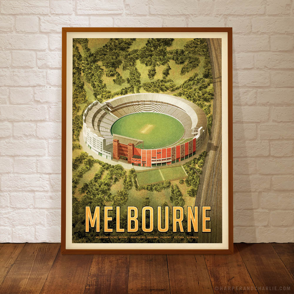 MCG Melbourne cricket portrait colour print framed by Harper and Charlie