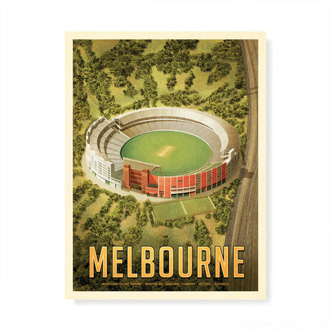 MCG Melbourne cricket portrait colour print by Harper and Charlie