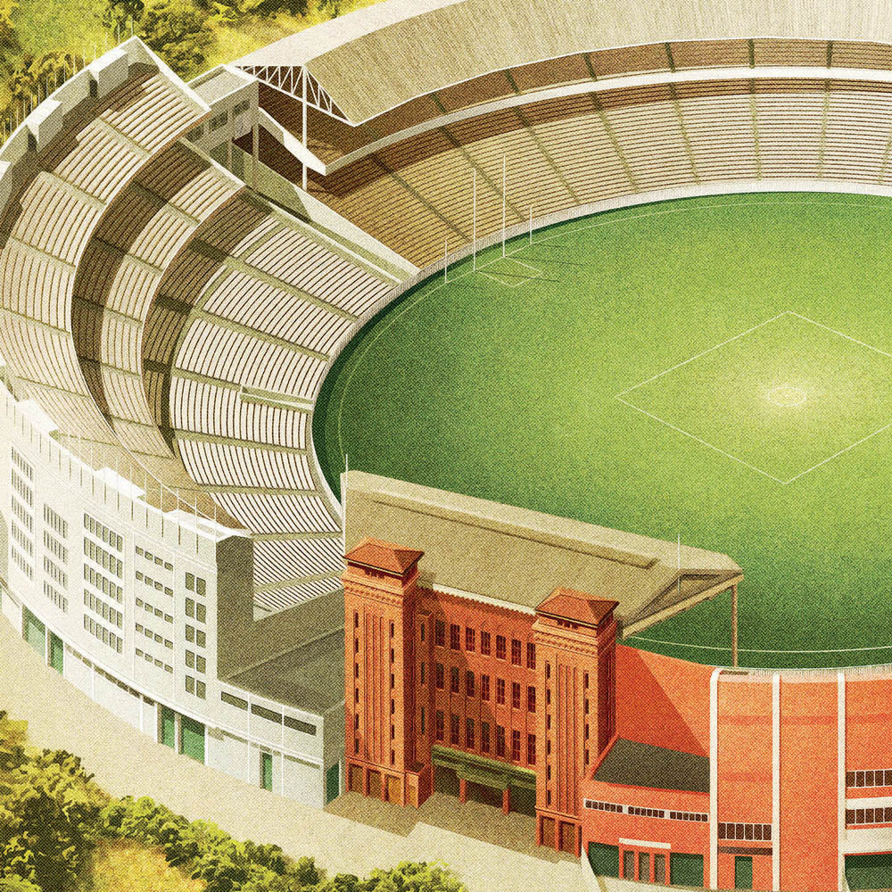 Melbourne Cricket Ground football landscape colour print close up by Harper and Charlie