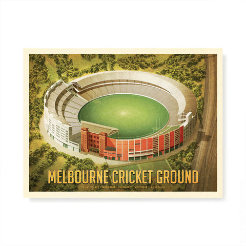 Melbourne Cricket Ground landscape football colour print by Harper and Charlie