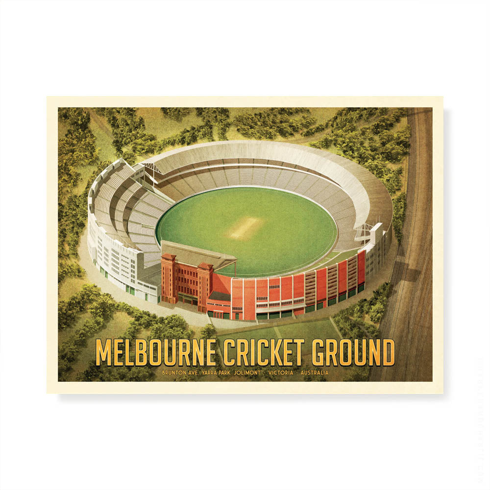 Melbourne Cricket Ground landscape colour print by Harper and Charlie