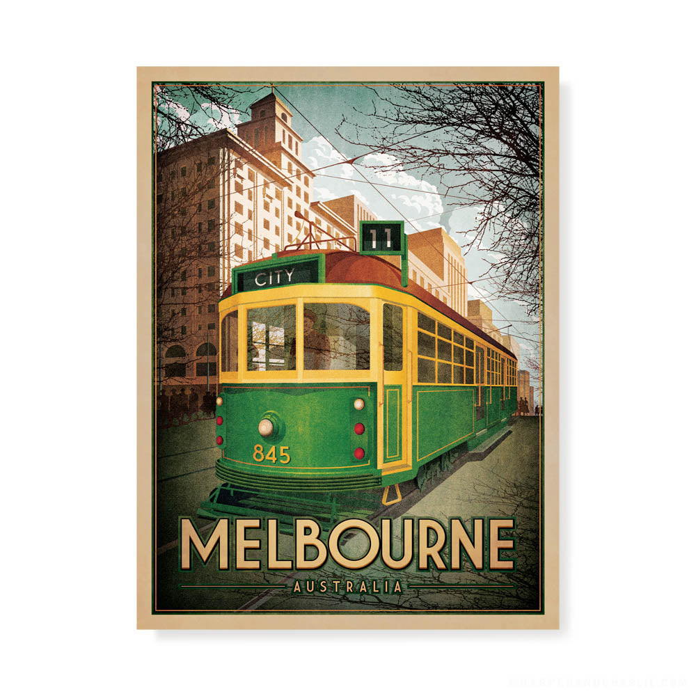 Melbourne W Class Tram colour print by Harper and Charlie