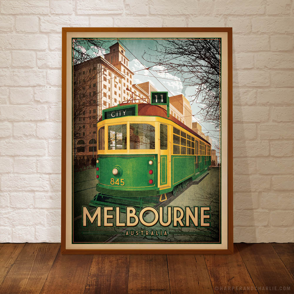 Melbourne W Class Tram framed colour print by Harper and Charlie