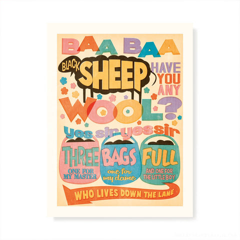 Baa Baa Black Sheep Kids' Colour Print