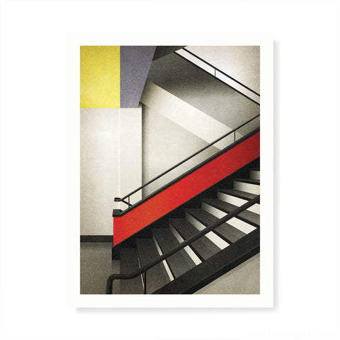 Bauhaus Building Stairway, Germany Colour Print