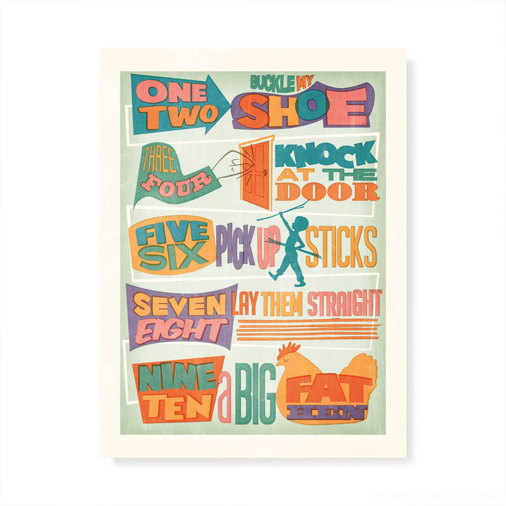 One Two Buckle My Shoe Kids' Colour Print